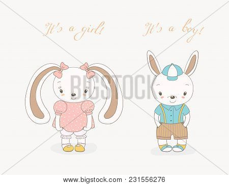 Hand Drawn Vector Illustration Of Little Smiling Bunny Boy In Shorts With Suspenders And Girl With R