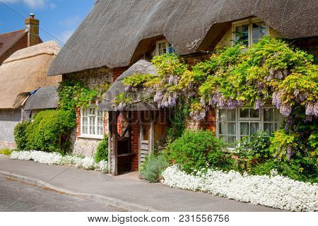 A typical traditional english country thatched cottage decorated with plants and blooming flowers in rural Southern England UK