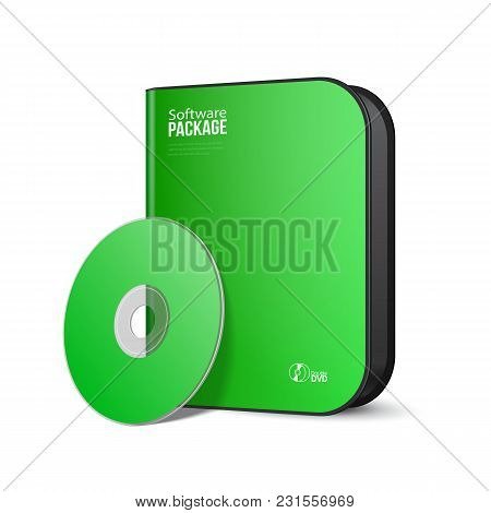 White Green Rounded Modern Software Package Box With Dvd, Cd Disk Or Other Your Product Eps10