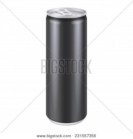 Black Metal Aluminum Beverage Drink Can 250ml. Ready For Your Design. Product Packing Vector Eps10