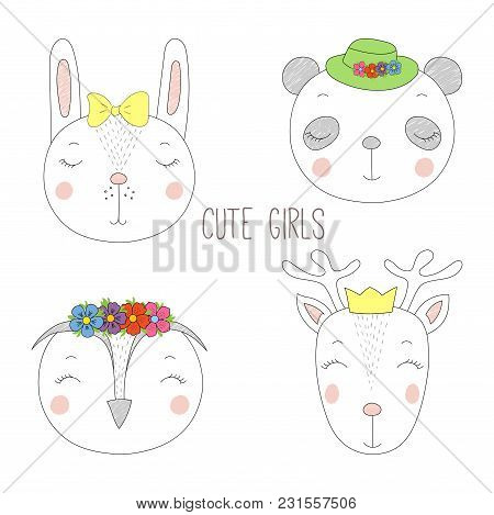 Set Of Hand Drawn Cute Funny Portraits Of Panda, Bunny, Reindeer, Owl Girls With Flowers And Hats. I