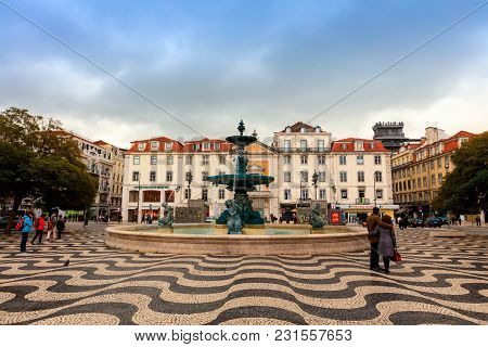 Lisbon , Portugal - February 11: Rossio Square In The Pombaline Downtown Of Lisbon Is One Of Its Mai