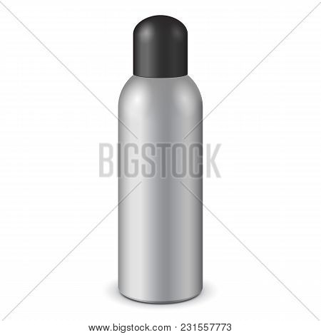 Gray Aerosol Spray Metal Bottle Can With Lid Cap: Paint, Graffiti, Deodorant Eps10