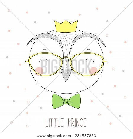 Hand Drawn Vector Portrait Of A Funny Owl Boy In A Crown, Glasses And Bow Tie, With Text Little Prin