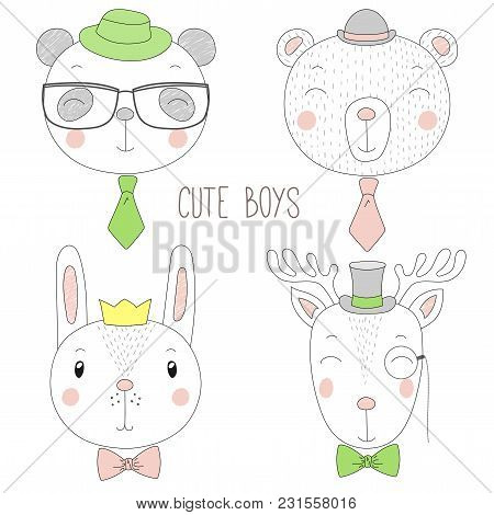 Set Of Hand Drawn Cute Funny Portraits Of Bear, Panda, Bunny, Reindeer Boys With Ties, Glasses And H
