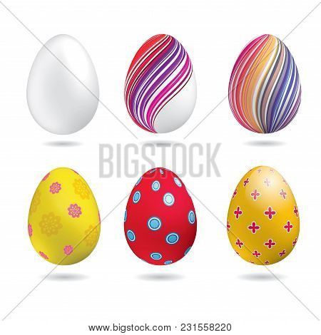 White, Yellow, Red, Striped Colorful Easter Eggs Aon The White Background. Set Of Icons