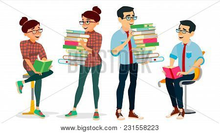 Getting Knowledge Concept Vector. Encyclopedia. Man And Woman In Book Club. Library, Academic, Schoo
