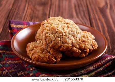 Anzac Biscuits - Oat And Coconut Traditional Cakes On Plate