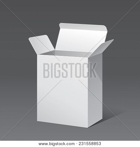 Opened White Modern Software Package Box. Products With Lable On White Background Isolated. Ready Fo