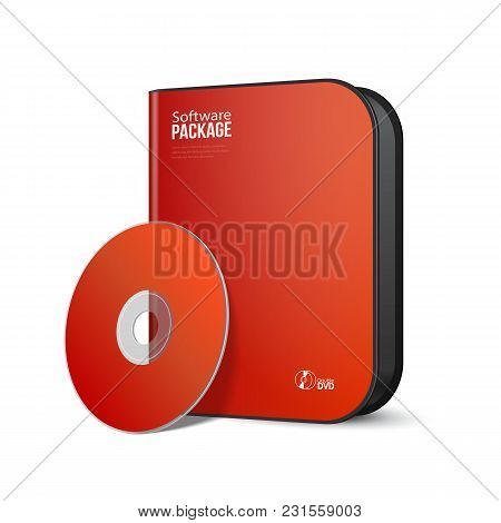 White Red Rounded Modern Software Package Box With Dvd, Cd Disk Or Other Your Product Eps10