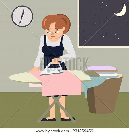 Tired Woman Ironing Clothes At Night  - Vector Cartoon Illustration In Flat Style