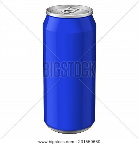 Blue Metal Aluminum Beverage Drink Can 330ml. Ready For Your Design. Product Packing Vector Eps10