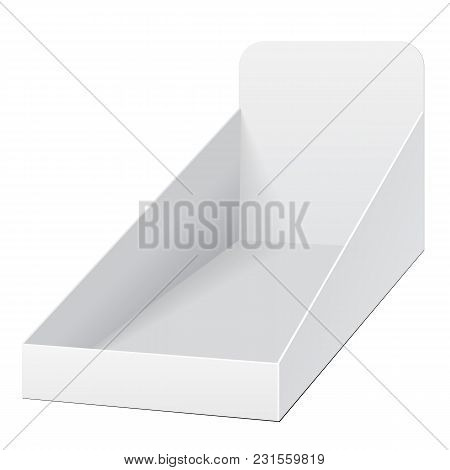 White Holder Box Pos Poi Cardboard Blank Empty Displays Products On White Background Isolated. Ready