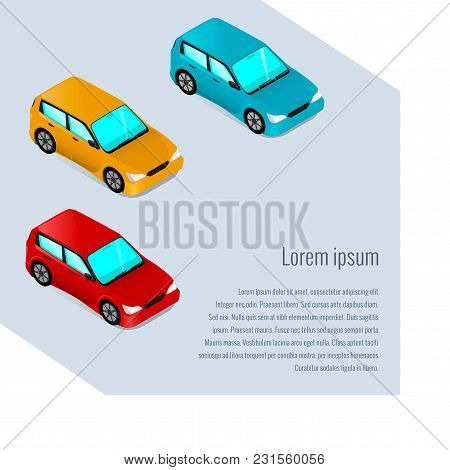 Cars In Isometric Style, Car Service, List Of Services