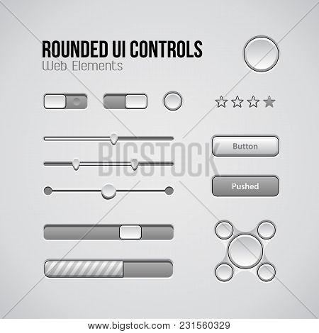Web Ui Controls Design Elements: Buttons, Switchers, On, Off, Player, Audio, Video: Play, Stop, Next