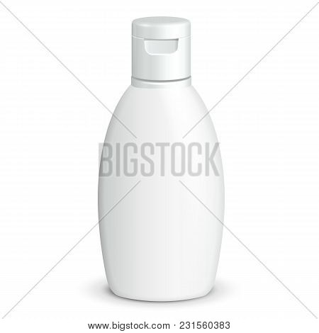 Cosmetic Or Hygiene Grayscale White Plastic Bottle Of Gel, Liquid Soap, Lotion, Cream, Shampoo. Read