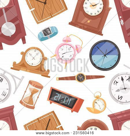 Clock Vector Watch With Clockwork And Clockface Or Wristwatches Clocked In Time With Hour Or Minute