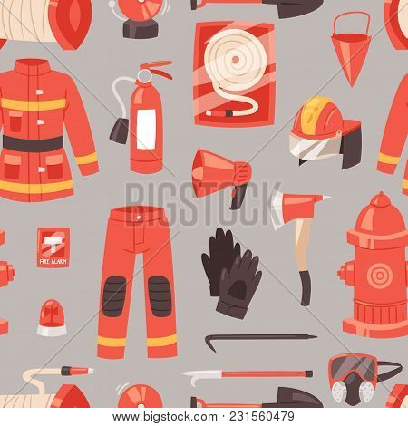 Firefighter Vector Firefighting Equipment Firehose Hydrant And Fire Extinguisher Illustration Set Of