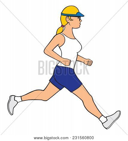 A Young Healthy Female Jogger Is Out For A Run