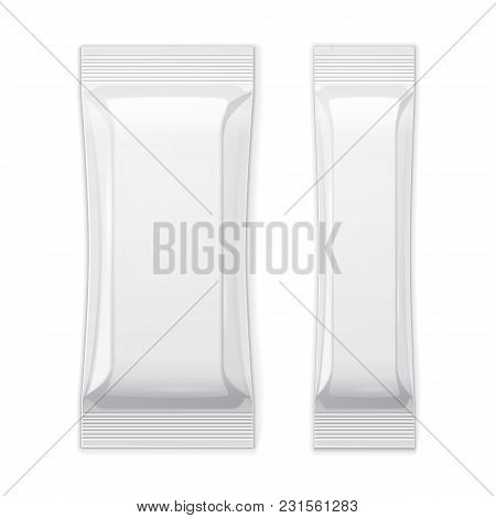 Two White Blank Foil Packaging Sachet Coffee, Salt, Sugar, Pepper Or Spices Stick Plastic Pack Ready