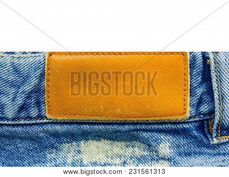 Jeans With Leather Label Isolated On White Background.