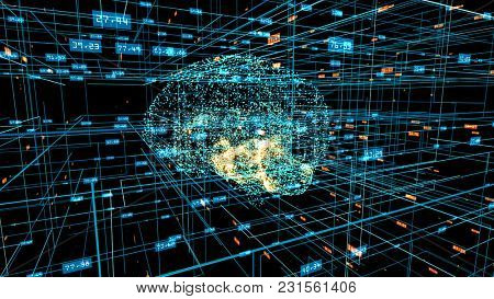 Human brain formed by blue particles with orange particles inside. Grid and digits evolving around. Blue abstract futuristic science and technology background. 3D rendering.