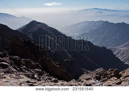 Toubkal And Other Highest Mountain Peaks Of High Atlas Mountains In Toubkal National Park, Morocco,