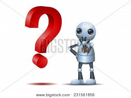 Illustration Of A Happy Droid Little Robot Watch A Question Symbol On Isolated White Background
