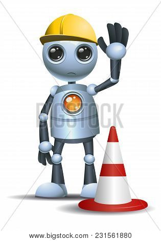 Illustration Of A Droid Little Robot Handy Worker On Isolated White Background