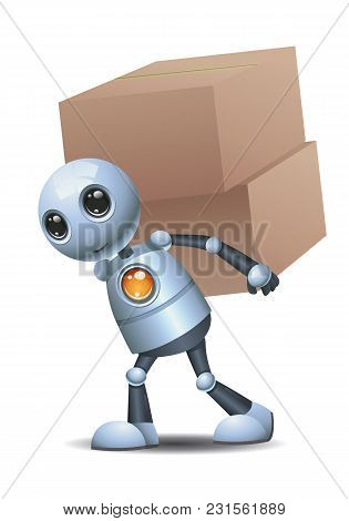 Illustration Of A Happy Droid Little Robot Delivered Box On Isolated White Background
