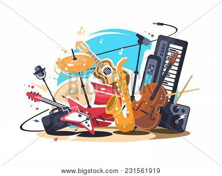 Musical Instruments On Stage. Guitar And Drum Set, Saxophone And Double Bass. Vector Illustration