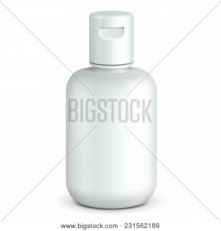 Cosmetic, Hygiene, Medical Grayscale White Plastic Bottle Of Gel, Liquid Soap, Lotion, Cream, Shampo