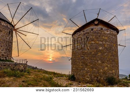 Beautiful Sunset. View Of The Island Of Patmos With Windmills, Greece.