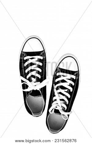Pair Of Sneakers-colored Youth Running Shoes On A White Background, Isolated