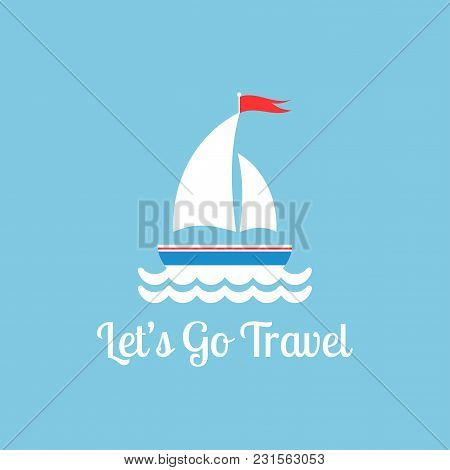 Flat White Boat With Two Sails And Little Waving Red Flag On The Top.