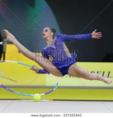 Kyiv, Ukraine - March 16, 2018: Rhythmic Gymnast Mariia Sergeeva Of Russia Performs With Hoop During