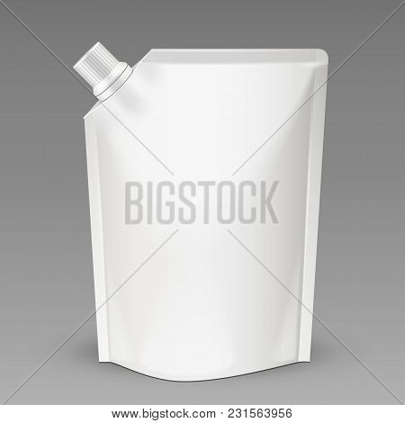 White Mock Up Blank Pack, Foil Food Or Drink Bag Packaging With Spout Lid. Plastic Pack Template Rea