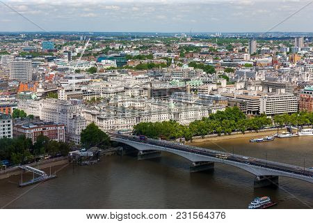 Waterloo Bridge Across River Thames And East London Landscape, England