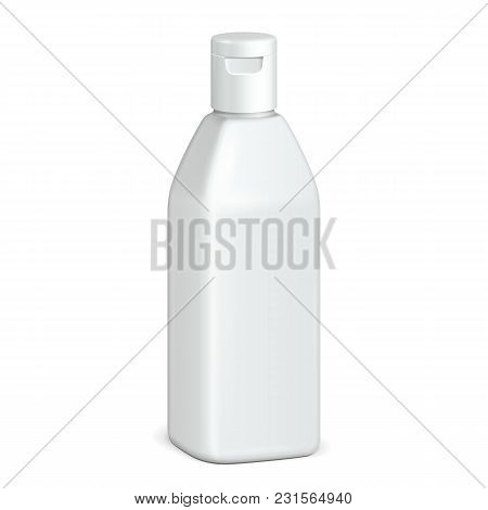Beverage Drink, Cosmetic Or Hygiene Grayscale White Plastic Bottle Of Gel, Liquid Soap, Lotion, Crea