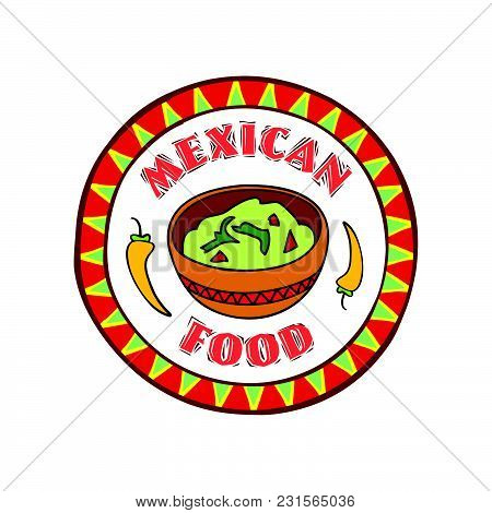 Mexican Food Symbol. Traditional Cuisine Set. Mexican Dish Doodles Sign. Fastfood Icon. Round Shape