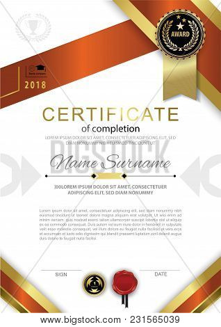Official White Certificate Of Completion With Red Gold Design Elements And Black Badge. Vector Backg