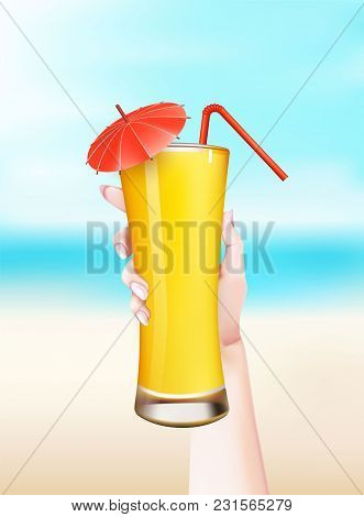 Girl Hand Holding Summer Cocktail Straw Umbrella Juice Martini Glass At Seaside Beach Vacation Backg