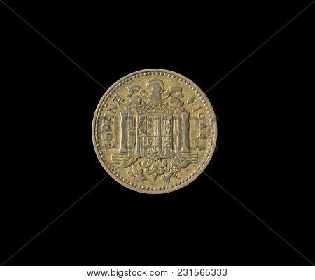Obverse Of 1 Peseta Coin Made By Spain In 1944