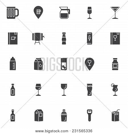 Drinks And Beverages Vector Icons Set, Modern Solid Symbol Collection, Filled Style Pictogram Pack.