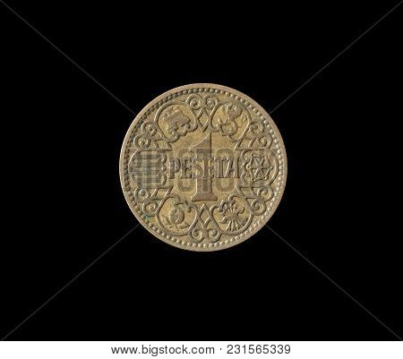 Reverse Of 1 Peseta Coin Made By Spain In 1944