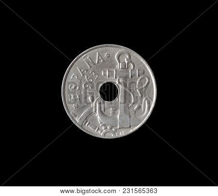 Obverse Of 10 Centimos Coin Made By Spain In 1963