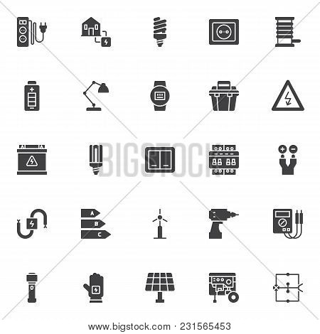 Electrician Vector Icons Set, Modern Solid Symbol Collection, Filled Style Pictogram Pack. Signs, Lo