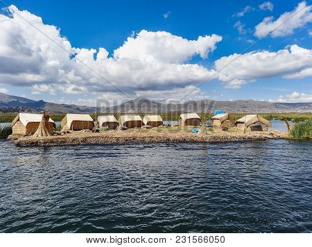 Floating Reed Plateform For Man Made Island By Uru People At Lake Titicaca Peru South America