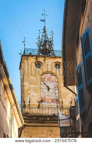 Belfry Or Bell Tower With Astronomic Clock And Big Bell Atop In Aix-en-provence, France