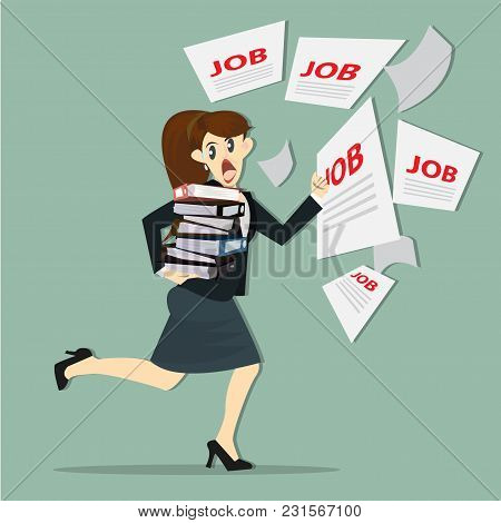 Woman Walking Jobs With Paperwork In Office.
